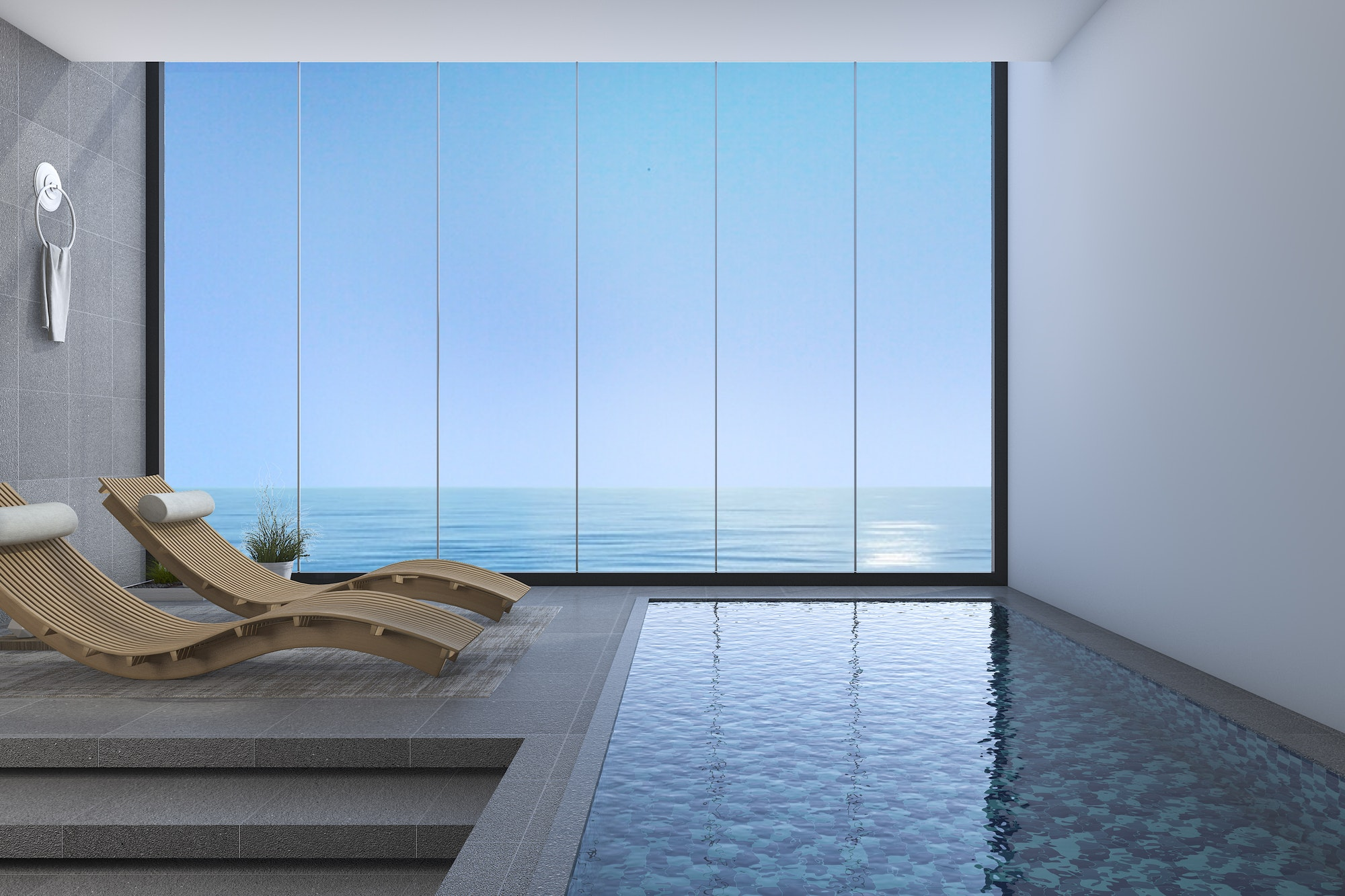 Presupuesto wood bed bench near pool and sea view from window with modern design