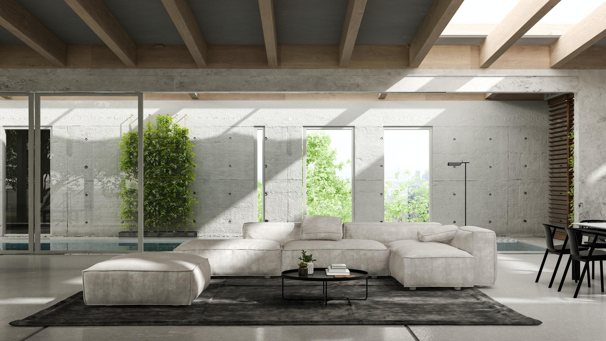 Reformas Chalets Alicante Interior de la moderna sala de estar con sofá